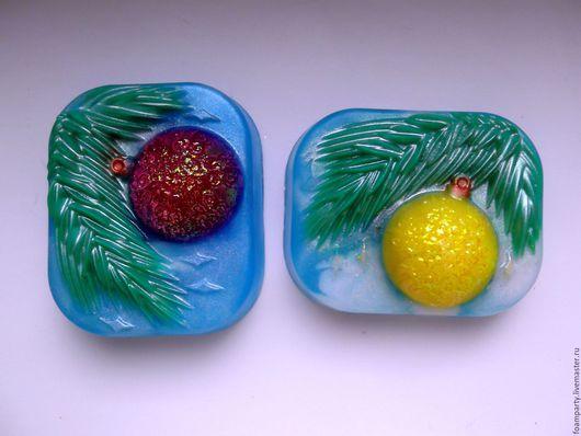 """Мыло ручной работы. Ярмарка Мастеров - ручная работа. Купить Мыло """"Новогоднее 2"""". Handmade. Разноцветный, Новый Год, блеск"""