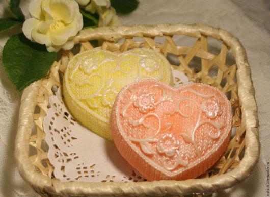"""Мыло ручной работы. Ярмарка Мастеров - ручная работа. Купить Сувенирное мыло """"Вязанное сердце"""". Handmade. Оранжевый, мыло сердце"""