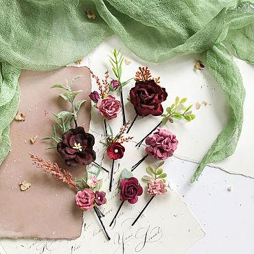 Свадебный салон ручной работы. Ярмарка Мастеров - ручная работа Цветочные невидимки c пыльно-розовыми и бордовыми цветами. Handmade.