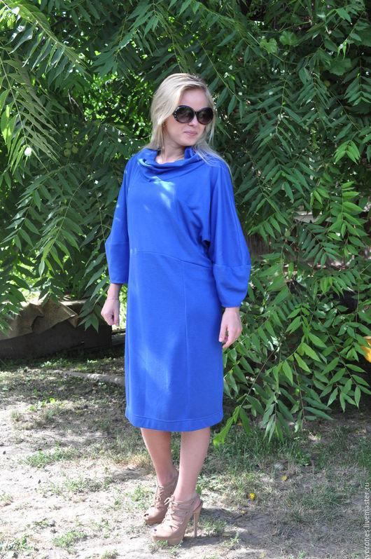 Платья ручной работы. Ярмарка Мастеров - ручная работа. Купить Платье из джерси. Handmade. Синий, большой размер