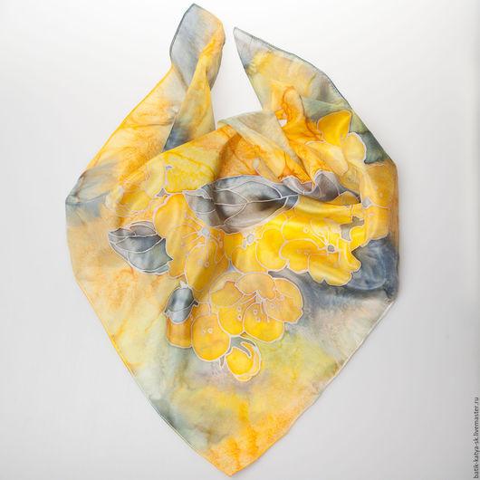 """Шарфы и шарфики ручной работы. Ярмарка Мастеров - ручная работа. Купить Батик платок """"Желтые цветы2"""". Handmade. Батик"""