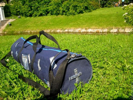 Спортивные сумки ручной работы. Ярмарка Мастеров - ручная работа. Купить Сумка для йоги. Handmade. Тёмно-синий, сумка для коврика