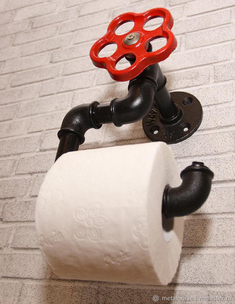 Держатель для туалетной бумаги в стиле лофт, индастриал, стимпанк, Ванная комната, Москва, Фото №1