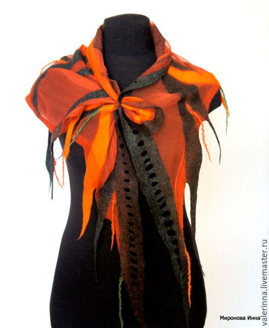 Шали, палантины ручной работы. Ярмарка Мастеров - ручная работа. Купить Шифоновая войлочная косынка (бактус, шаль). Handmade. Рыжий