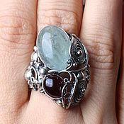 Украшения handmade. Livemaster - original item Silver ring Garnet Aquamarine 22ct 925 Sterling silver. Handmade.