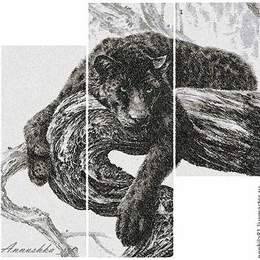 """Картины и панно ручной работы. Ярмарка Мастеров - ручная работа Модульная картина, триптих """"пантера"""".. Handmade."""