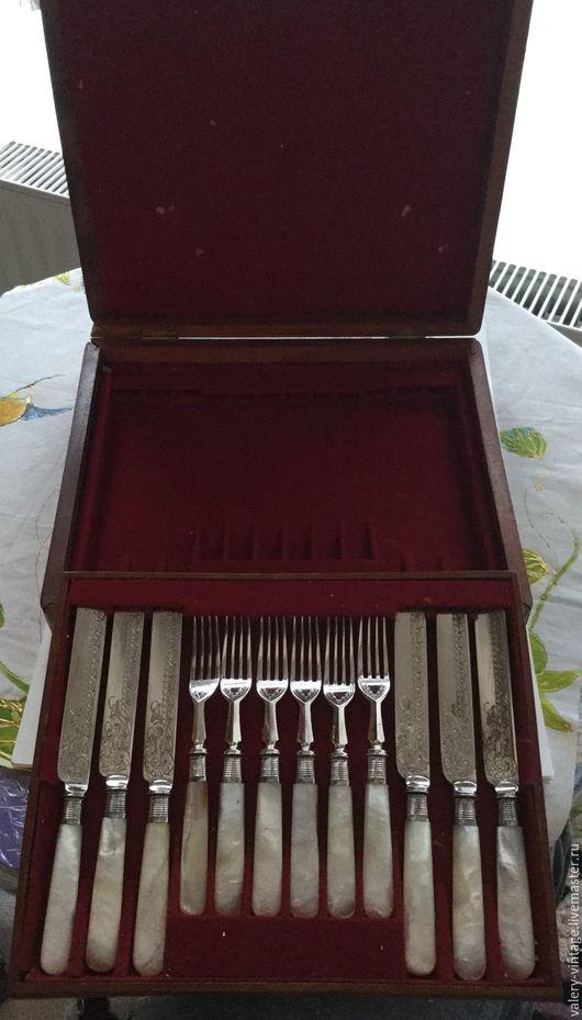 Винтажная посуда. Ярмарка Мастеров - ручная работа. Купить Антикварное столовое серебро набор вилки и ножи (T.L.) Шеффилд.. Handmade.