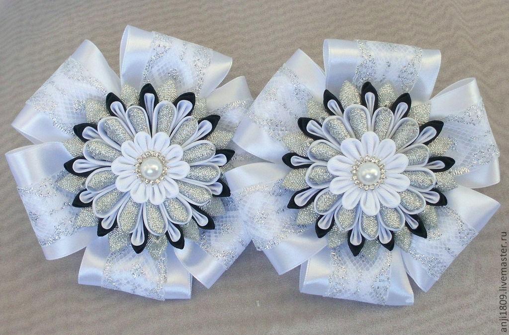Белые банты канзаши для волос