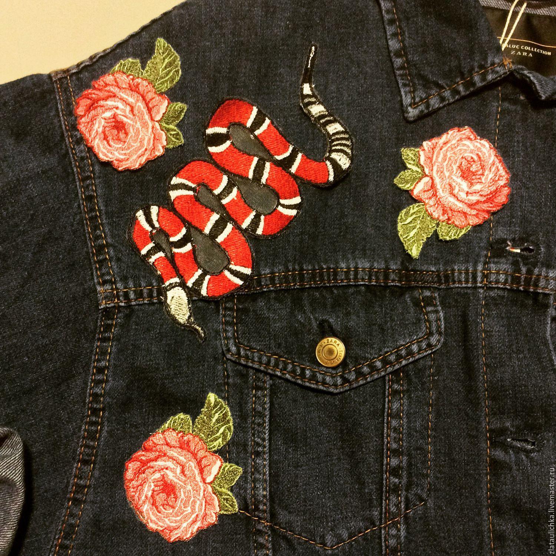 Вышивки с аппликацией розы