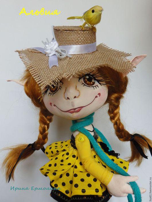 Эльфочка Альвия. Интерьерная текстильная кукла. Ручная работа. Handmade. Ярмарка Мастеров. Купить. Желтый. Бирюзовый.