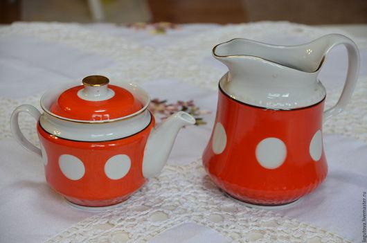 Винтажная посуда. Ярмарка Мастеров - ручная работа. Купить Набор из чайника и кувшина. Фарфор винтаж 70-е. Handmade.
