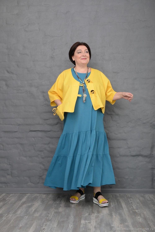 Jacket linen short yellow cap sleeves Art. 2346, Jackets, Kirov,  Фото №1