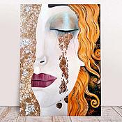 Картины и панно handmade. Livemaster - original item Painting Golden tears, portrait of a girl. Gustav Klimt style. Handmade.