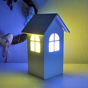 """Для дома и интерьера ручной работы. Ярмарка Мастеров - ручная работа Деревянный светильник дом """"Дом сине-зелёный"""". Ночник домик.. Handmade."""