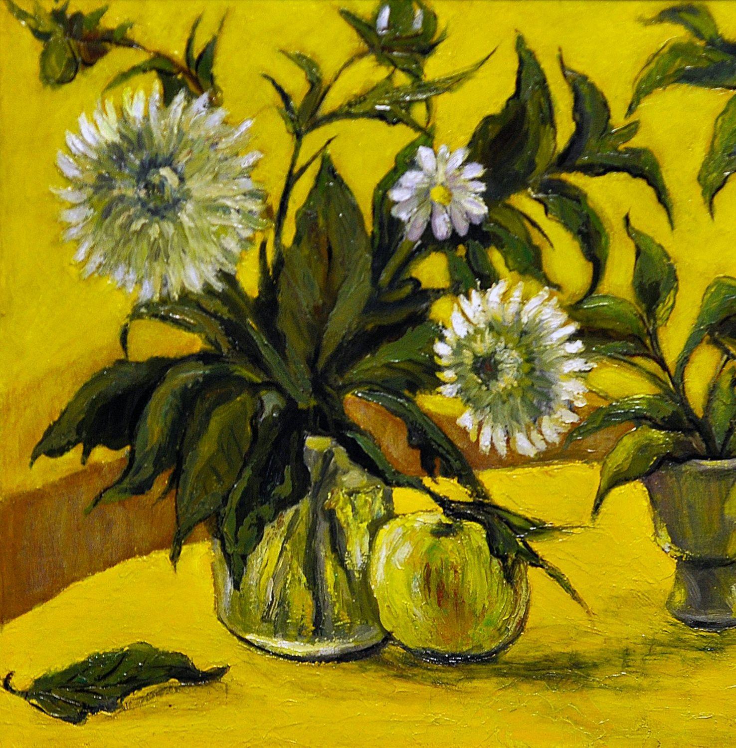 Хризантемы на жёлтом фоне, Картины, Архангельск,  Фото №1