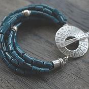 Украшения ручной работы. Ярмарка Мастеров - ручная работа браслет синий-синий с серебром. Handmade.