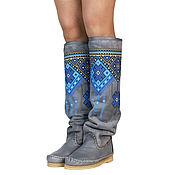 Обувь ручной работы handmade. Livemaster - original item Winter boots natural fur INDIANINI RICAMATI (gray). Handmade.