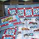 """Детская ручной работы. Ярмарка Мастеров - ручная работа. Купить Комплект одеяло+ подушка """"Любителю машин"""". Handmade. Одеяло лоскутное"""