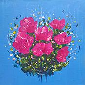 Картины ручной работы. Ярмарка Мастеров - ручная работа Картина на холсте пионы цветы розовые розы розовые пионы букет. Handmade.