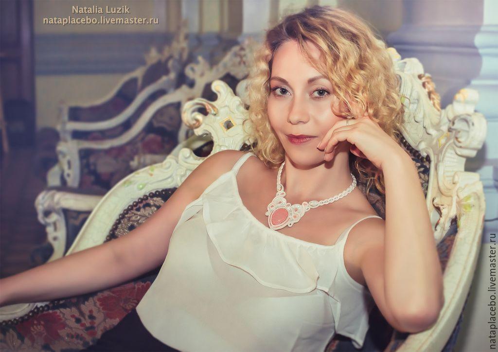 Wedding soutache necklace Subtle rose with rose quartz white, Wedding necklace, St. Petersburg,  Фото №1