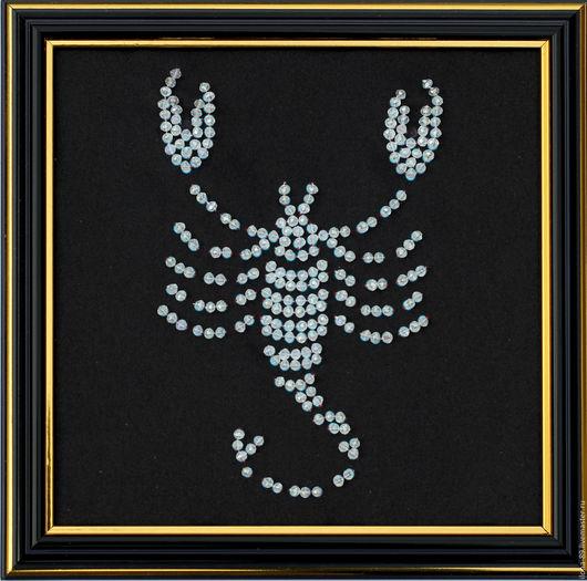 """Абстракция ручной работы. Ярмарка Мастеров - ручная работа. Купить Картина """"Знак зодиака СКОРПИОН"""" вышитая камнями. Handmade."""