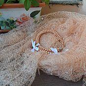 Аксессуары ручной работы. Ярмарка Мастеров - ручная работа Палантин вязаный Нежный персик.  Ажурный палантин шарф. Handmade.