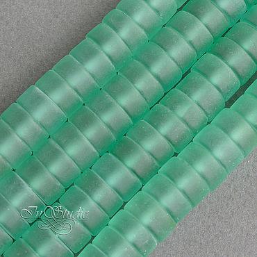 Материалы для творчества ручной работы. Ярмарка Мастеров - ручная работа Аква кварц матовый 12х6 мм зеленый бусины рондели шайбы таблетки диски. Handmade.