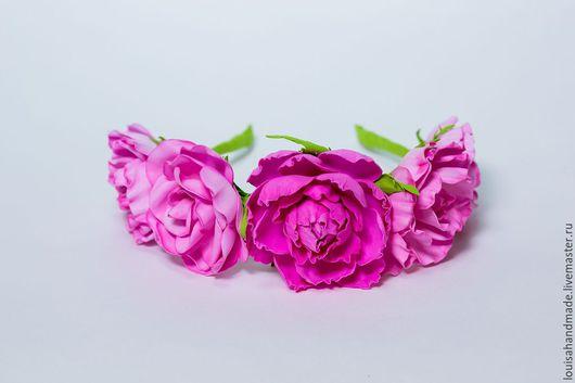 """Диадемы, обручи ручной работы. Ярмарка Мастеров - ручная работа. Купить Ободок с розами из фоамирана """"Розовая мечта"""". Handmade. Розовый"""