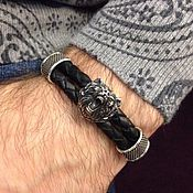 Украшения handmade. Livemaster - original item Leather / Silver Bracelet with Bear head. Handmade.