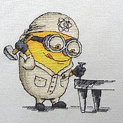 Канцелярские товары ручной работы. Ярмарка Мастеров - ручная работа Миньон  физик мирный атом. вышитая картина. Handmade.