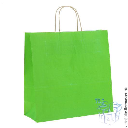 Упаковка ручной работы. Ярмарка Мастеров - ручная работа. Купить Крафт пакеты, 32х32х12 см, с кручеными ручками, зеленый, цветной. Handmade.