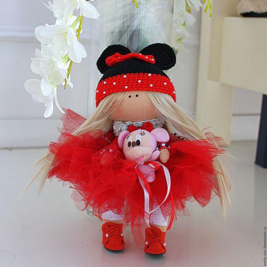 """Куклы тыквоголовки ручной работы. Ярмарка Мастеров - ручная работа. Купить Интерьерная текстильная кукла """"Малышка Мини Маус"""". Handmade."""