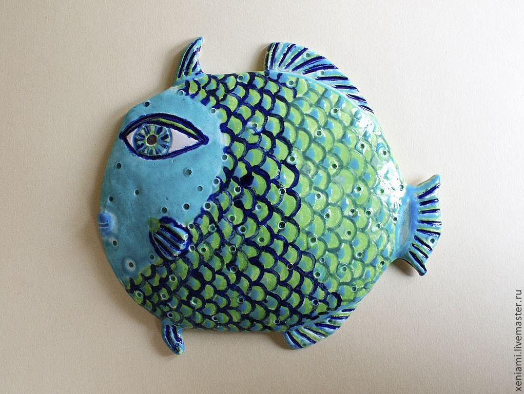 Панно керамическое Синяя Рыба
