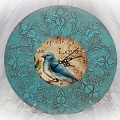 """Часы классические ручной работы. Ярмарка Мастеров - ручная работа Часы """"Птичка в бирюзе"""". Handmade."""