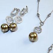 handmade. Livemaster - original item Jewelry Set: Mini necklace and earrings Pearl zircons. Handmade.