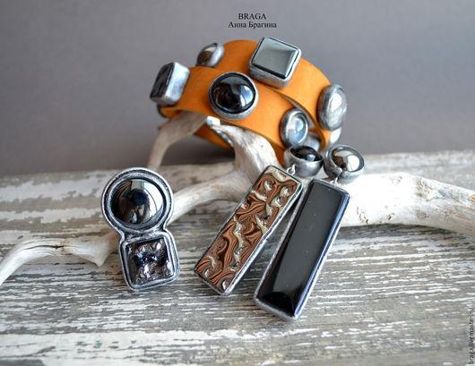 Комплекты украшений ручной работы. Ярмарка Мастеров - ручная работа. Купить Комплект из стекла и полимерной глины. Браслет-намотка, серьги, кольцо. Handmade.