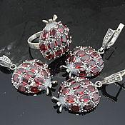 Украшения handmade. Livemaster - original item Garnet jewelry set with grenades made of 925 GA0047 silver. Handmade.
