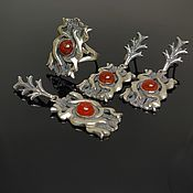 Украшения handmade. Livemaster - original item Carnel Jewelry set with carnelian silver DS0097. Handmade.