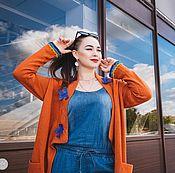 Одежда ручной работы. Ярмарка Мастеров - ручная работа Кардиган с голубыми цветами.. Handmade.