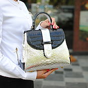 Сумки и аксессуары handmade. Livemaster - original item Python and crocodile leather bag Silver Mascot. Handmade.