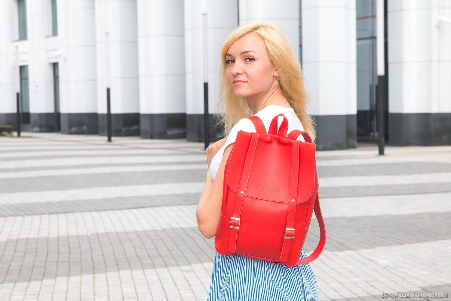 Leather backpack 'Moscow' red, Backpacks, Moscow,  Фото №1