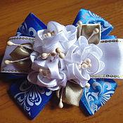 """Украшения handmade. Livemaster - original item Резинки-канзаши для волос """"Школьная пора"""" из атласных лент. Handmade."""