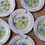 handmade. Livemaster - original item Saucer with cornflowers ( porcelain ). Handmade.