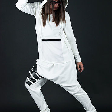 Одежда ручной работы. Ярмарка Мастеров - ручная работа Белый спортивный костюм, толстовка и брюки - SE0717PM. Handmade.