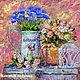 """Картины цветов ручной работы. Ярмарка Мастеров - ручная работа. Купить Картина """"Натюрморт в Стиле Прованс"""" картина с цветами розы васильки. Handmade."""