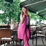 Одежда ручной работы. Ярмарка Мастеров - ручная работа Брюки из костюмной ткани малиновые. Handmade.
