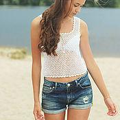 Одежда handmade. Livemaster - original item Top white summer knitted 100% cotton. Handmade.