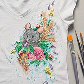 Одежда ручной работы. Ярмарка Мастеров - ручная работа футболка Мышка. Handmade.