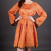 Одежда handmade. Livemaster - original item Orange dress from natural silk. Handmade.