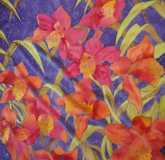 Шали, палантины ручной работы. Ярмарка Мастеров - ручная работа. Купить Шелковый платок батик Оранжевые цветы. Handmade. Цветочный